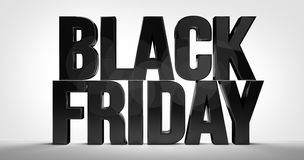 Black friday bold font 3d render Royalty Free Stock Photography
