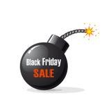 Black Friday bomb. Bomb  on white background with inscription Black Friday sale, illustration Royalty Free Stock Photo