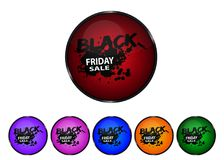 Black Friday - boutons brillants colorés illustration stock