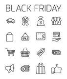 Black Friday bracht vectorpictogramreeks met elkaar in verband Stock Foto's