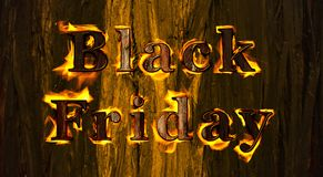 Black friday burning banner. Illustration with black friday text burning isolated on a wooden textured background Royalty Free Stock Photo