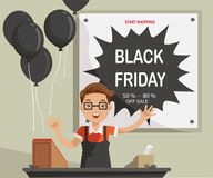 Black friday. Business Owner Opened. Smiling and enthusiastic price Welcome customers.big sale time.Black balloons and discounted price tags. Trading concept Stock Photography