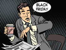 Black Friday businessman in cafe Stock Photography