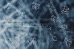 Black friday button with cursor surrounded by shopping baskets a Stock Images