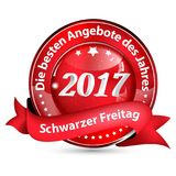 Black Friday 2017 button designed for the German retail market. Black Friday shiny button designed for the German retail market. Text translation: Black Friday Royalty Free Stock Photos