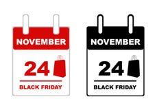 Black friday calendar isolated. On white Stock Images