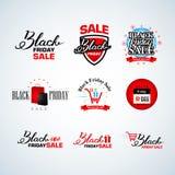 Black Friday Calligraphic Design Templates set. Retro Style Elements. Vintage Ornaments. Sale, Clearance. Vector Illustration Set. Stock Photo