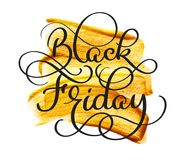 Black friday calligraphy text on golden abstract background. Hand written.  Royalty Free Stock Images