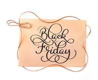 Black friday calligraphy text on kraft paper background. Hand written Royalty Free Stock Photography