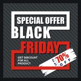 Black Friday Card, Banner, Poster with modern design stock photos