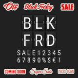 Black Friday che viene presto Flip Clock Letters analogico, illustrazione di stock