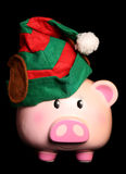 Black friday christmas elf piggy bank Royalty Free Stock Image