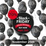 Black Friday Circle Label Balloons Percents Royalty Free Stock Photography