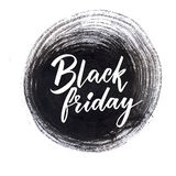 Black friday clearance banner with handwritten text on grunge ink round stain. Vector sale banner. Royalty Free Stock Photography