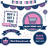 Black Friday Clipart. Modern design elements promoting a Black Friday sale with badges, decorative elements and icons Royalty Free Stock Photography