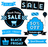 Black Friday Clipart. Modern design elements promoting a Black Friday sale with badges, decorative elements and icons Stock Images