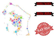 Black Friday Collage of Mosaic Map of Bora-Bora and Scratched Stamp vector illustration