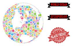Black Friday Collage of Mosaic Map of Global Ocean and Scratched Stamp stock illustration
