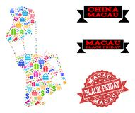 Black Friday Collage of Mosaic Map of Macau and Scratched Seal vector illustration