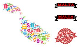 Black Friday Collage of Mosaic Map of Malta and Grunge Seal royalty free illustration