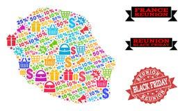 Black Friday-Collage van Mozaïekkaart van Bijeenkomsteiland en Gekraste Verbinding vector illustratie