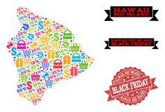 Black Friday-Collage van Mozaïekkaart van het Grote Eiland van Hawaï en Grunge-Zegel royalty-vrije illustratie