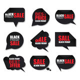 Black friday collection realistic curved paper speech bubbles Royalty Free Stock Image