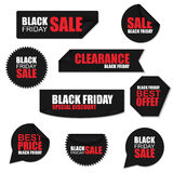 Black friday collection realistic curved paper stickers. On white background. Can be used for e-commerce, e-shopping, flyers, posters, web design and printed Royalty Free Stock Image