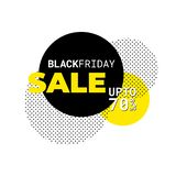 Black friday color yellow - sale template - colorful circles - horizontal. Black friday color yellow - sale template - horizontal - great sales percentage sign stock illustration