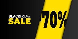 Black friday color yellow - sale template - horizontal. Great sales percentage sign - web banner vector illustration