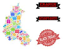 Black Friday Composition of Mosaic Map of Champagne Province and Grunge Seal royalty free illustration