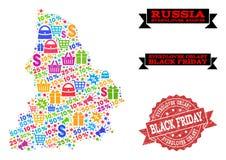 Black Friday Composition of Mosaic Map of Sverdlovsk Region and Distress Stamp royalty free illustration
