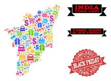 Black Friday Composition of Mosaic Map of Tamil Nadu State and Scratched Seal stock illustration