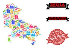 Black Friday Composition of Mosaic Map of Uttar Pradesh State and Grunge Seal royalty free illustration