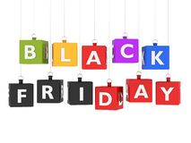 Black friday con colored cubes Stock Photos