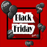 Black Friday concept with black balloons and square frame. On red background with words sale, bogo free, precentage discounts. Vector illustration in flat style Stock Photo