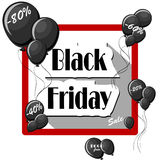 Black Friday concept with black balloons and square frame on white background. Royalty Free Stock Images