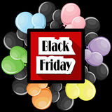 Black Friday concept with colorful balloons and square frame. On black background. Vector illustration in flat style Royalty Free Stock Image