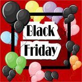Black Friday concept with colorful balloons and square frame. On red background. Vector illustration in flat style Stock Images