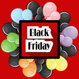Black Friday concept with colorful balloons and square red frame. On red background. Vector illustration in flat style Stock Images