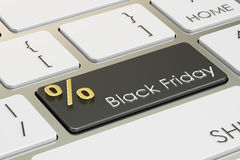 Black Friday concept on the keyboard, 3D rendering Royalty Free Stock Photo