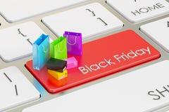 Black Friday-concept op het toetsenbord, het 3D teruggeven Stock Afbeelding