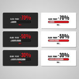 Black Friday Coupon discounts white and black. Coupon discounts are made on white and black background, discount 30,50,70 percent Royalty Free Stock Photography