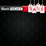 Black Friday Cover Price Stickers Wallpaper Ornaments. Black Friday banner with price stickers on the black background with ornaments Royalty Free Stock Photo