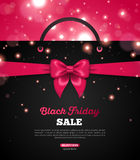 Black Friday Creative Banner with Shopping Bag. Black Friday Creative Banner with Black Shopping Bag and Pink Ribbon Bow. Vector Illustration. Place for Royalty Free Stock Photos