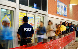 Black Friday Crowd control stock photography