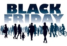 Black Friday. Crowd of customers. They will shop in the store Stock Photos