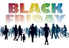 Black Friday. Crowd of customers. They will shop in the store Royalty Free Stock Photography