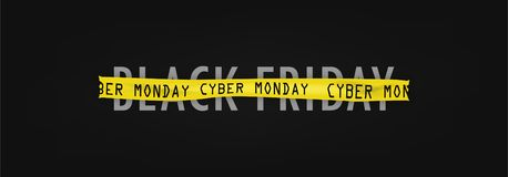 Black Friday of cyber Monday, inscription on tape stock illustration