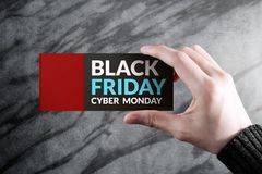 Black Friday and Cyber Monday Promotional Concept, Woman holding Stock Photography